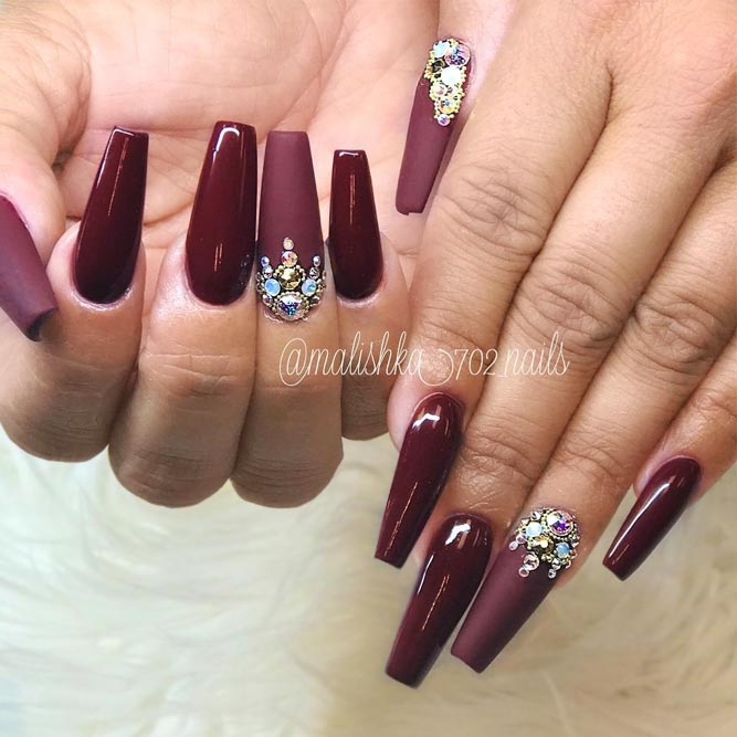 maroon coffin nails with diamonds photo - 2