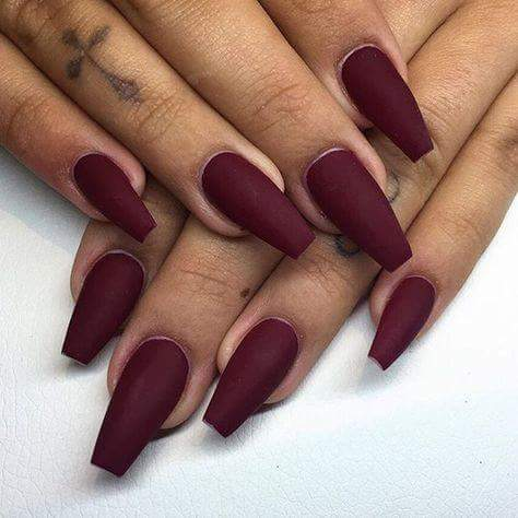 Maroon matte coffin nails - Expression Nails