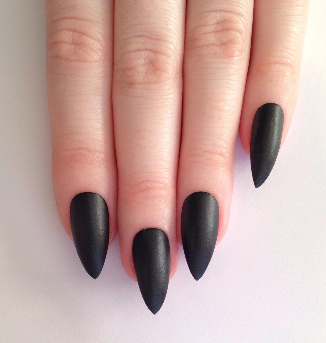 mat black stiletto nails photo - 1