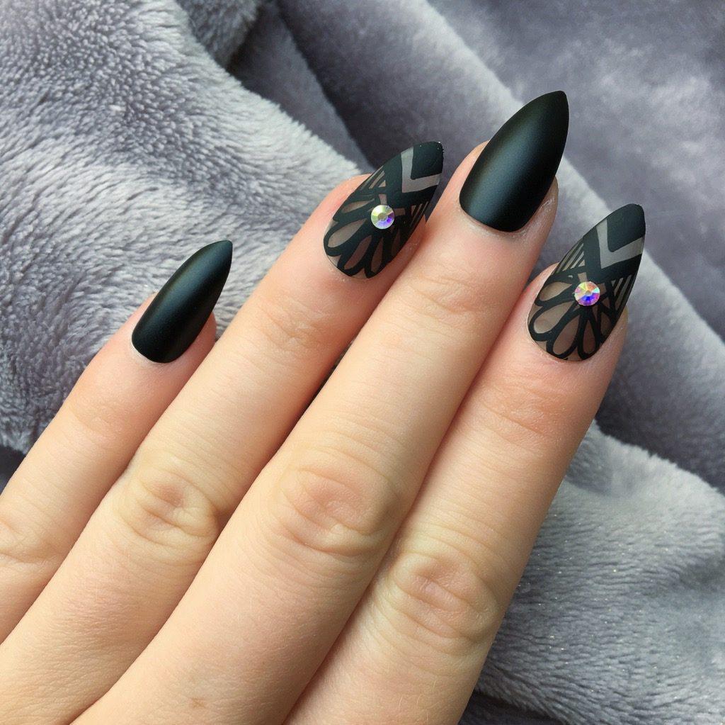 Perfect Matte Acrylic Nails Black Adornment - Nail Paint Design ...