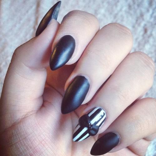 matte black almond acrylic nails photo - 1