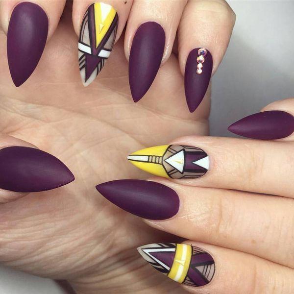 matte black almond acrylic nails photo - 2