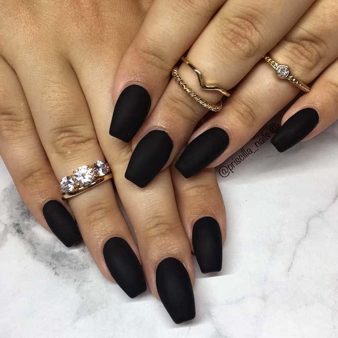 matte black coffin nails short photo - 1
