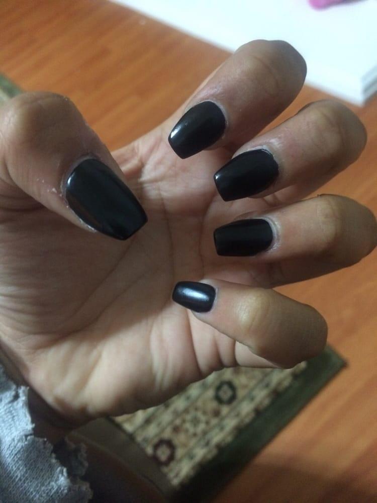 matte black coffin nails short photo - 2
