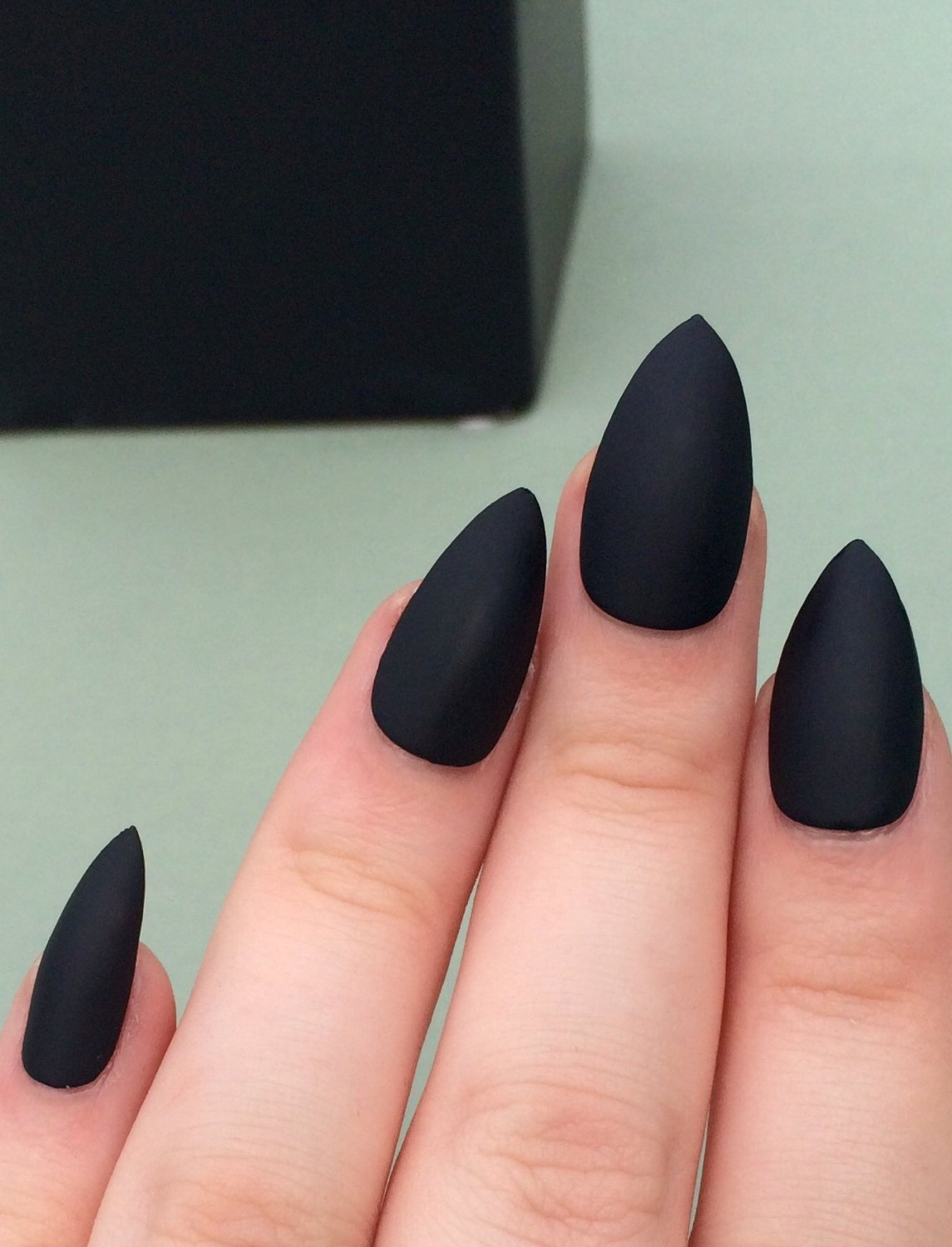 matte black coffin vs stilletous nails photo - 1