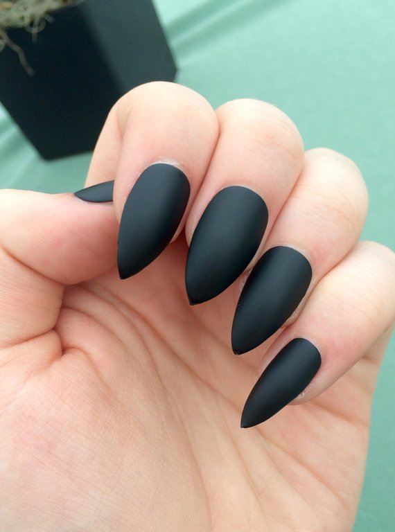 matte black coffin vs stilletous nails photo - 2