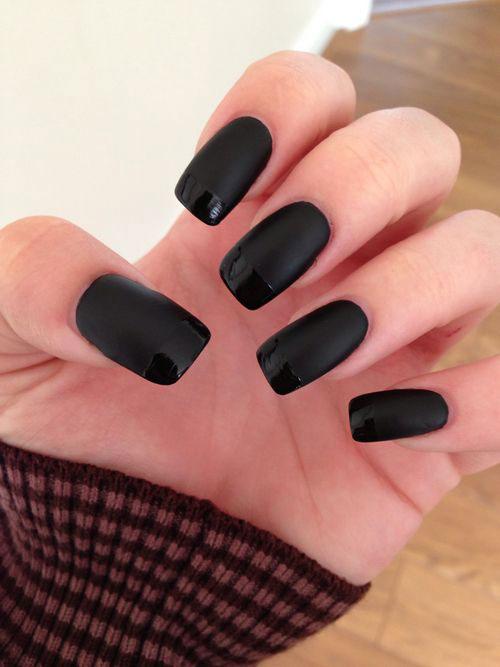 Matte black gel nails - Expression Nails