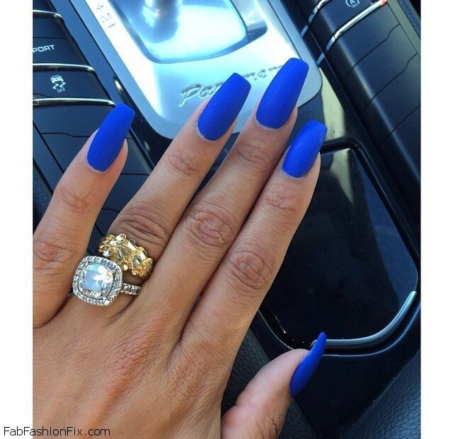 matte blue coffin nails photo - 1