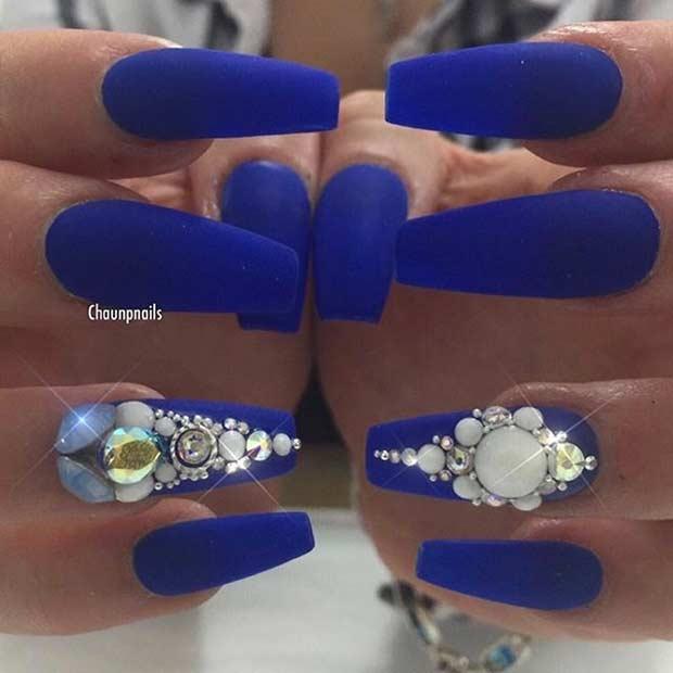 matte blue coffin nails photo - 2