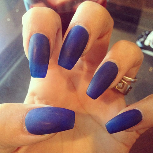 Matte blue coffin nails - Expression Nails