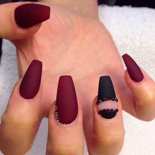 matte burgandy coffin nails photo - 1