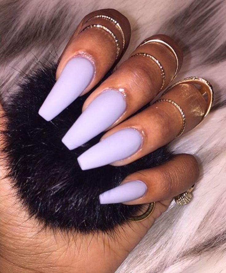 matte coffin acrylic nails purple photo - 1