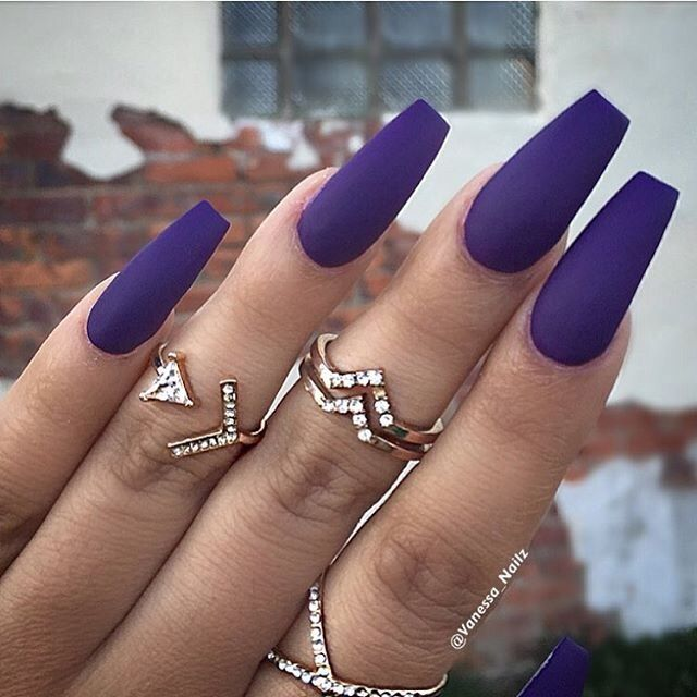 matte coffin acrylic nails purple photo - 2