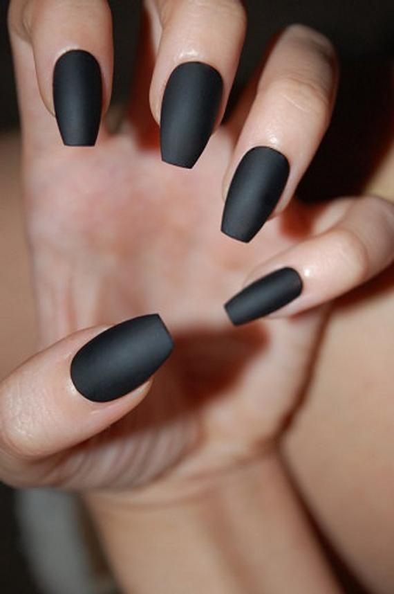matte colored coffin nails photo - 1
