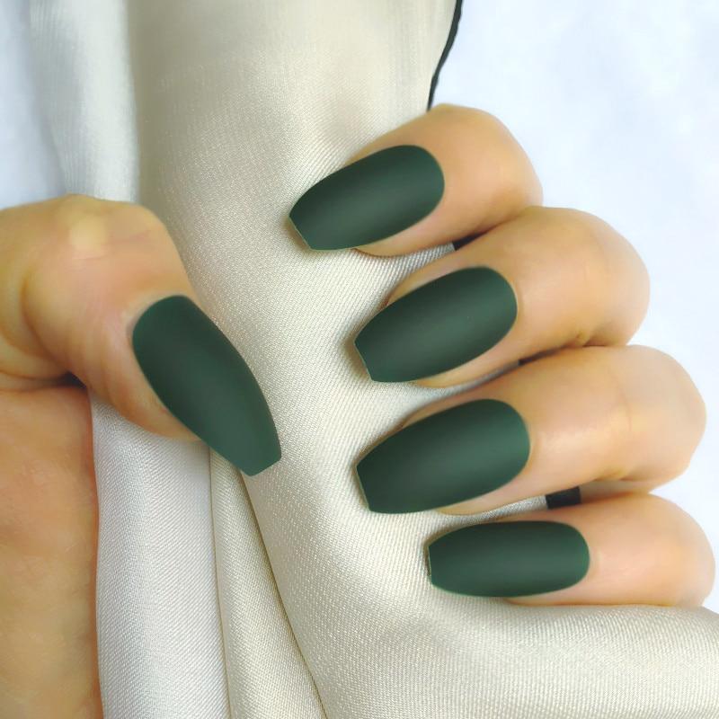 matte emerald green stiletto nails photo - 1