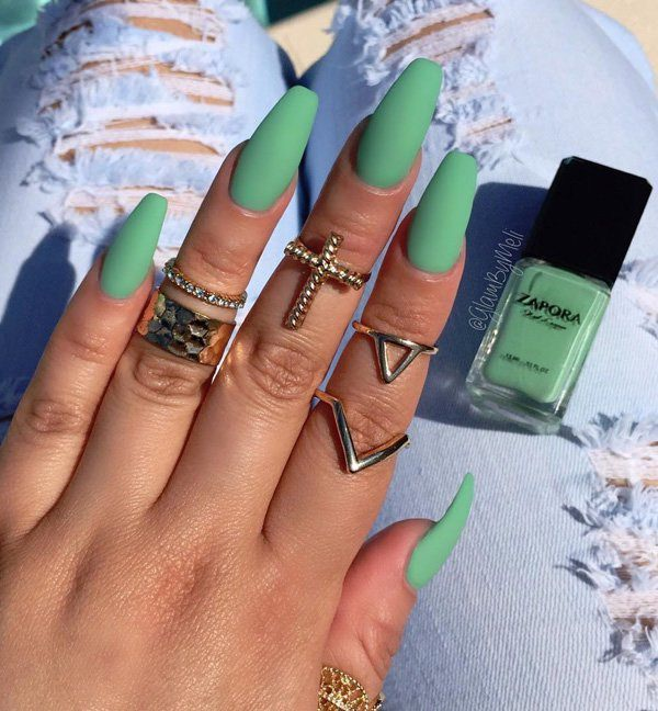 Matte green coffin nails - Expression Nails