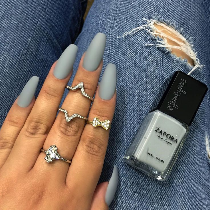 Matte Grey Acrylic Nails Photo