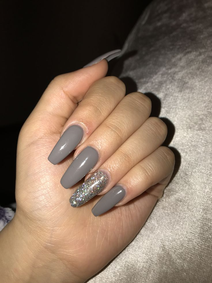 matte grey acrylic nails photo - 2