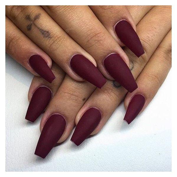 Matte maroon acrylic nails - Expression Nails