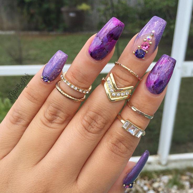 matte plum acrylic nails photo - 1
