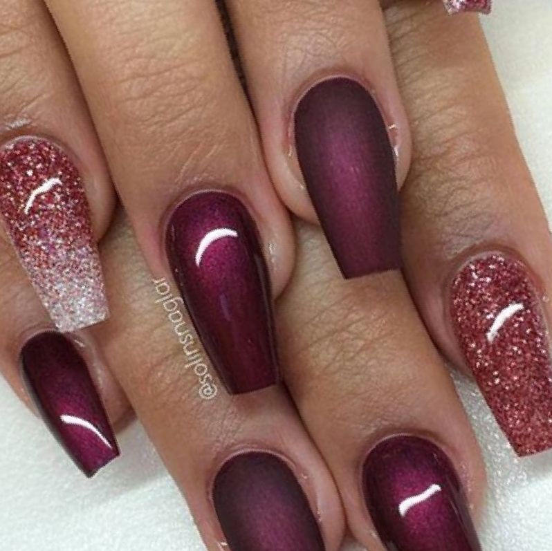 matte plum acrylic nails photo - 2