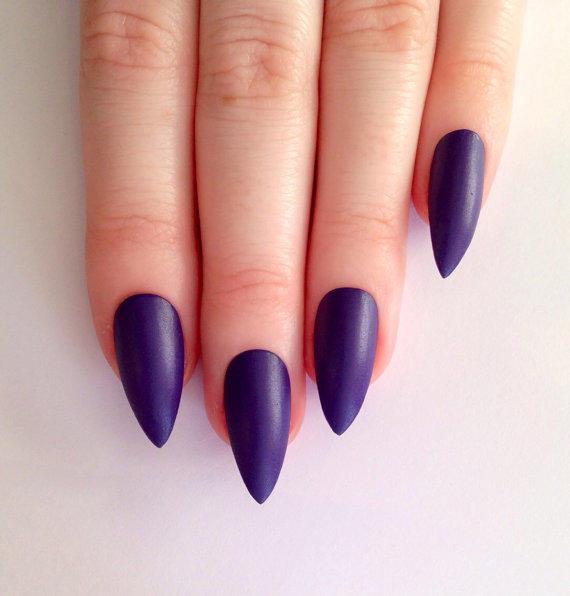 matte purple stiletto nails photo - 1