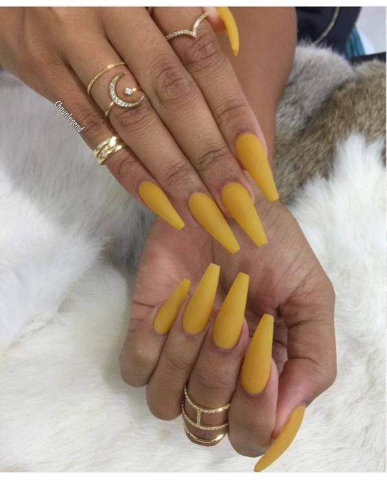 matte yellow coffin nails photo - 1