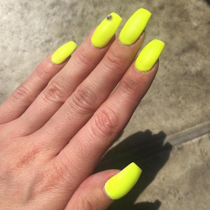 matte yellow coffin nails photo - 2