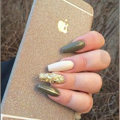 military green acrylic nails with one glitter nail coffin shaped photo - 1