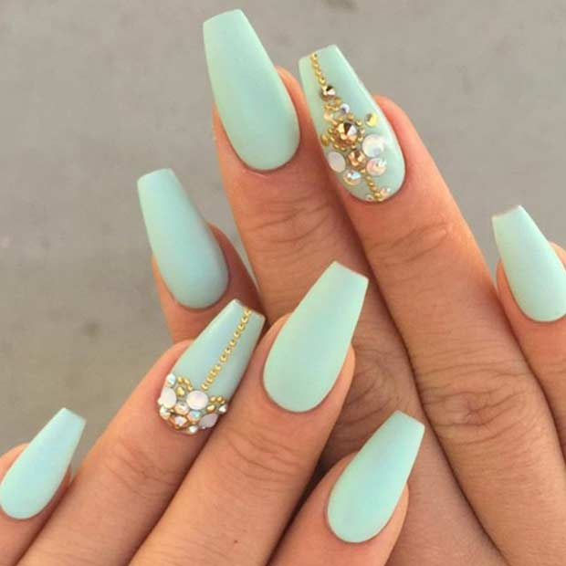 mint green and gold coffin nails photo - 1
