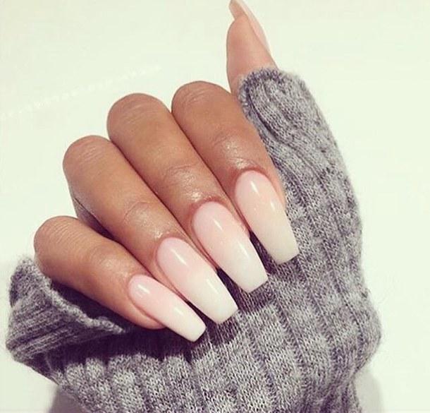 natural coffin shaped nails photo - 2