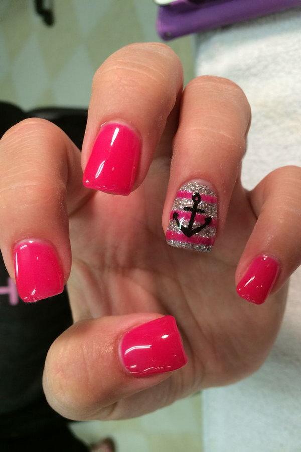navy acrylic nails photo - 2