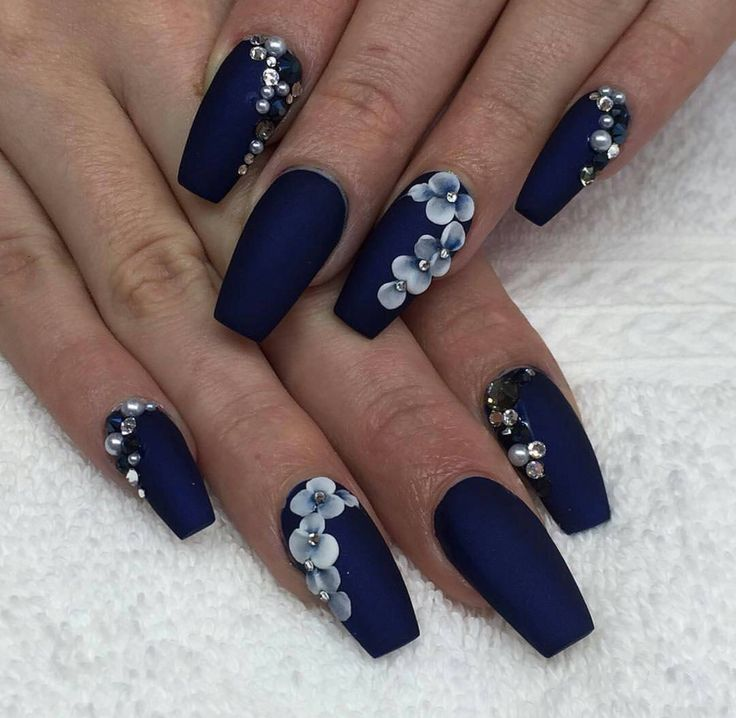 Navy Blue Blue Acrylic Coffin Nails New Expression Nails