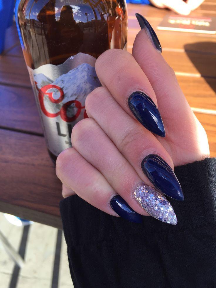navy blue matte acrylic nails coffin photo - 1
