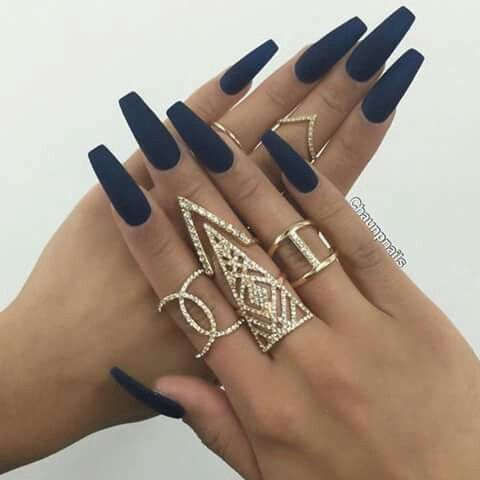 Navy coffin nails - Expression Nails