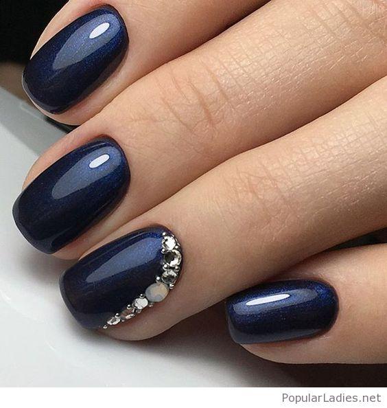 Navy gel nails - Expression Nails