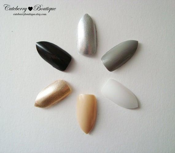 neutral stiletto nails photo - 1
