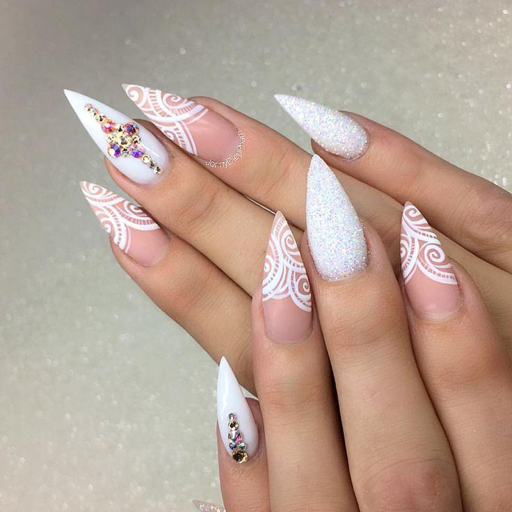 neutral stiletto nails photo - 2
