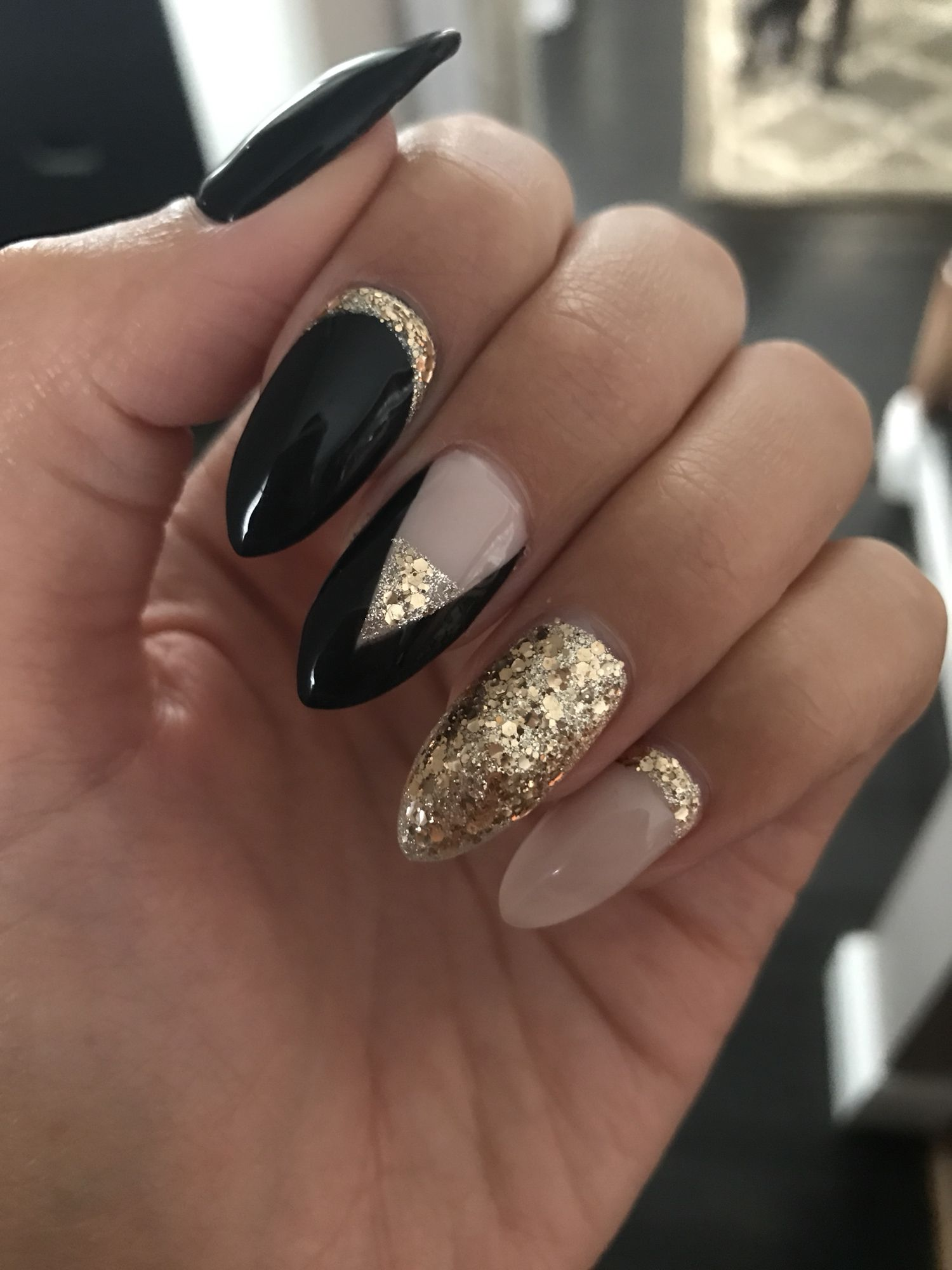 New years coffin nails - Expression Nails