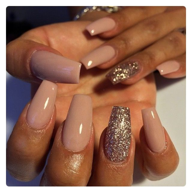 nude brown coffin nails photo - 2