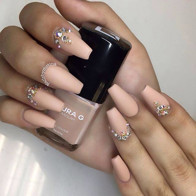 Nude color acrylic nails - Expression Nails