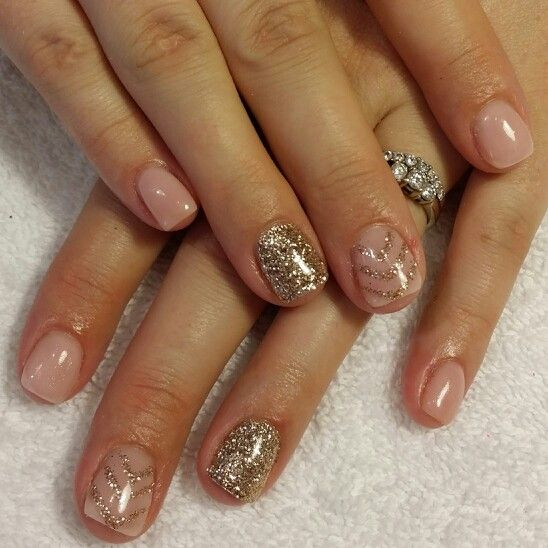 nude gel nails with gold photo - 1