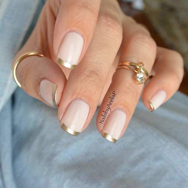nude gel nails with gold french manicure photo - 1