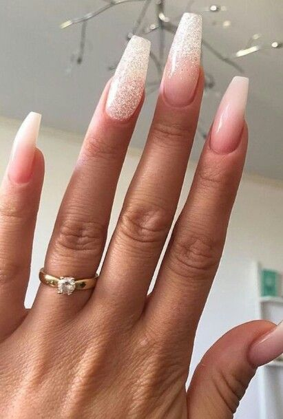 Nude glitter coffin nails - Expression Nails