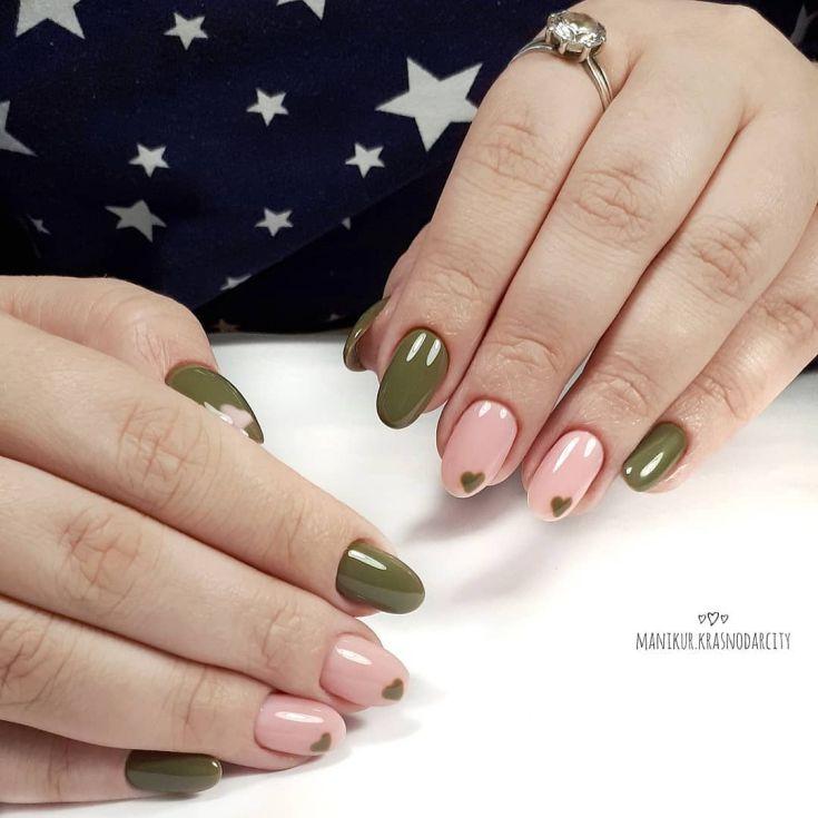 Olive green acrylic nails - Expression Nails