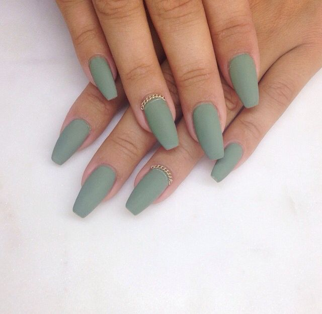 Olive green matte coffin nails - Expression Nails