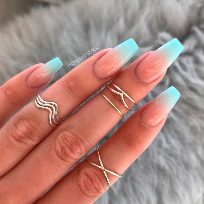 ombre blue nails coffin photo - 1