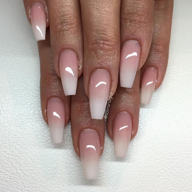 ombre french nails coffin photo - 2