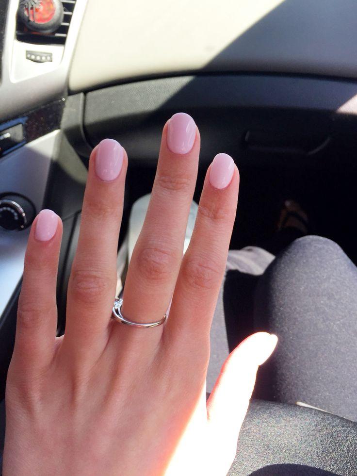 oval acrylic nails blush photo - 1