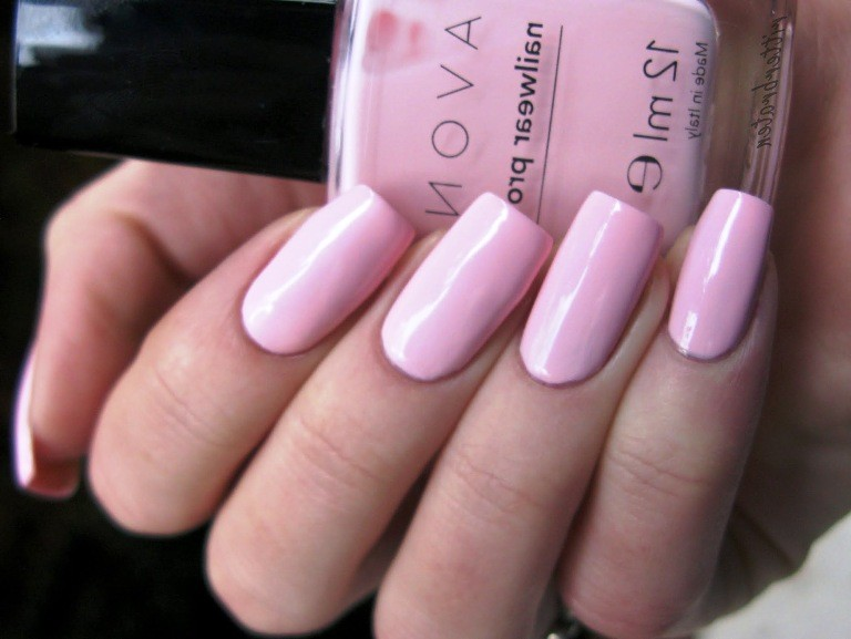 pale pink coffin acrylic nails photo - 2
